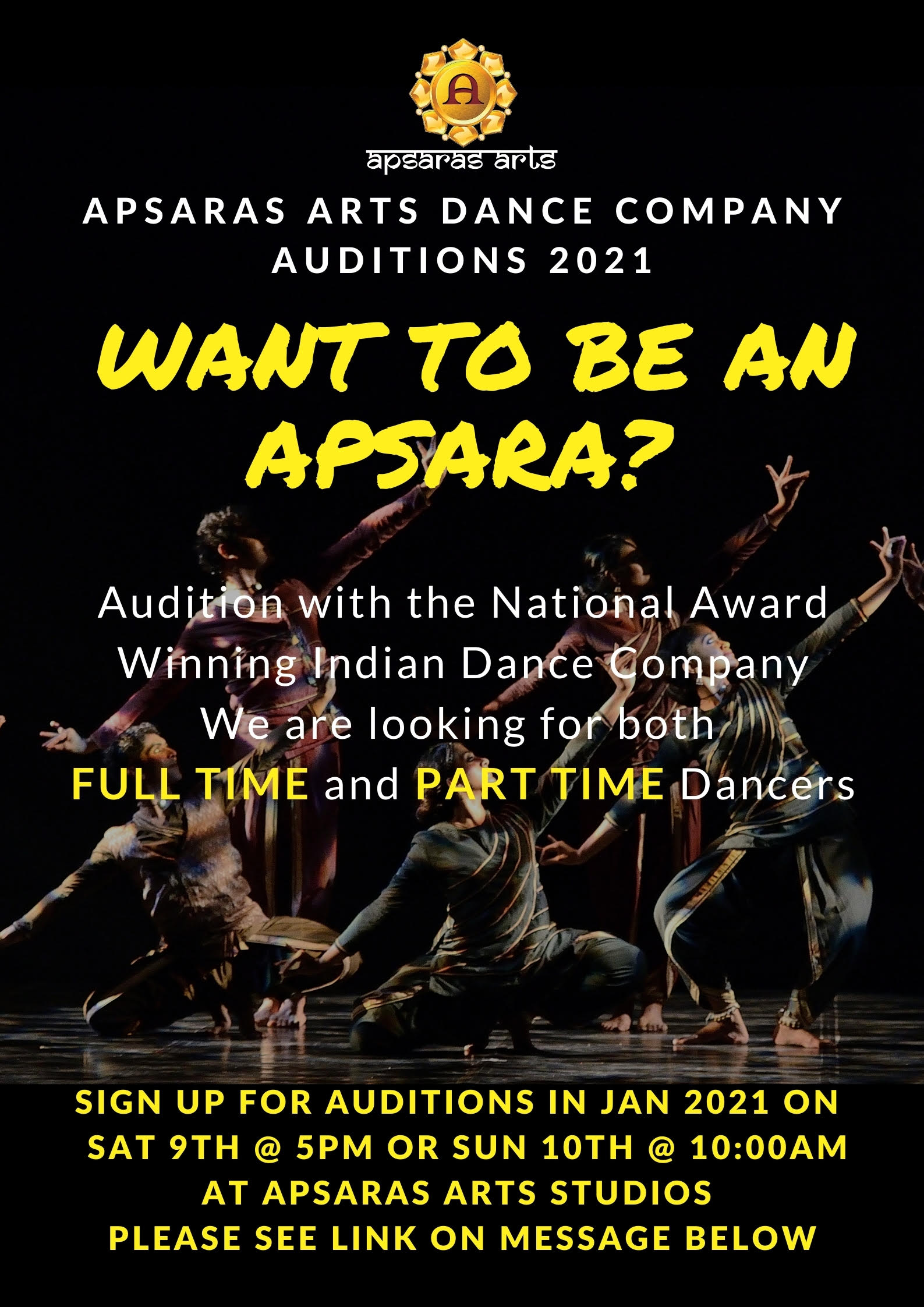 AUDITIONS - January 2021 Apsaras Arts Dance Company Calls for Auditions